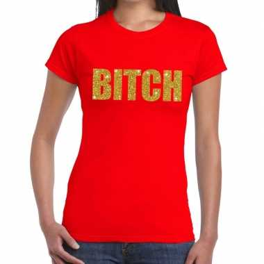 Bitch tekst t-shirt rood dames