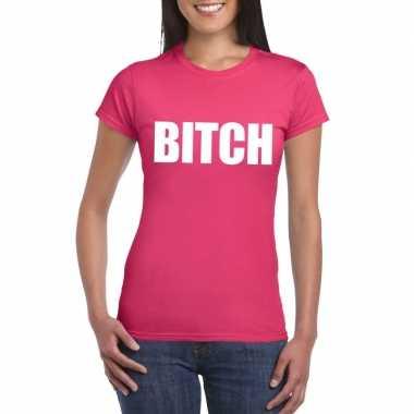 Bitch tekst t-shirt roze dames