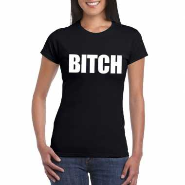 Bitch tekst t-shirt zwart dames