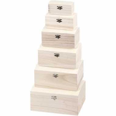 Blanco opbergkistje van hout 19 cm