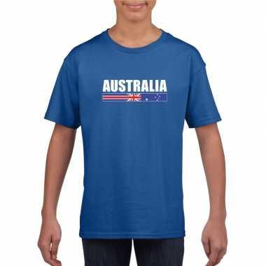 Blauw australie supporter t-shirt voor kinderen
