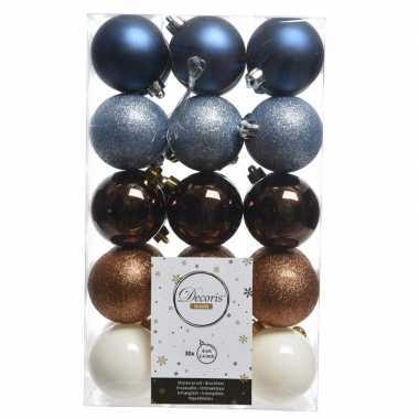 Blauw/bruin/witte kerstversiering kerstballenset kunststof 6 cm