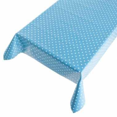 Blauw buiten tafelkleed/tafelzeil polkadot 140 x 240 cm