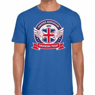 Blauw engeland drinking team t-shirt heren