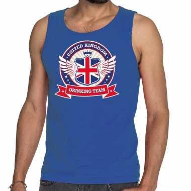 Blauw engeland drinking team tanktop / mouwloos shirt heren