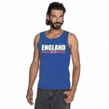 Blauw engeland supporter singlet shirt/ tanktop heren