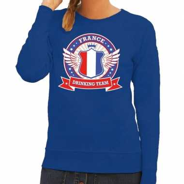 Blauw france drinking team sweater dames