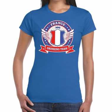 Blauw france drinking team t-shirt dames