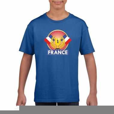 Blauw frankrijk supporter kampioen shirt kinderen