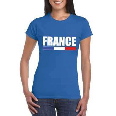 Blauw frankrijk supporter t-shirt voor dames