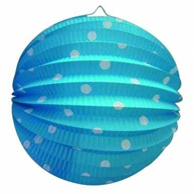Blauw gekleurde feest lampion met witte stippen