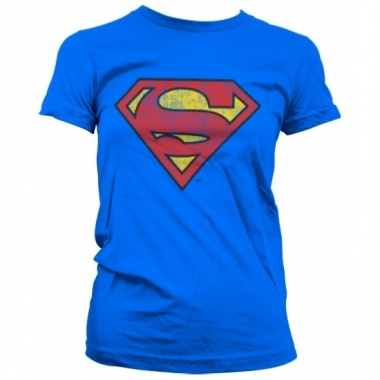 Blauw girly t-shirt superman logo gewassen