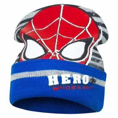 Blauw/grijze spiderman muts voor jongens
