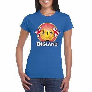 Blauw groot brittannie/ engeland supporter kampioen shirt dames