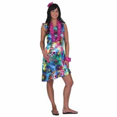 Blauw hawaii jurkje met bloemen