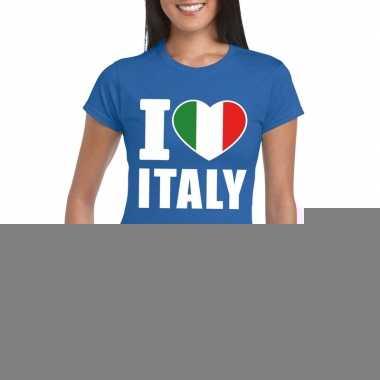 Blauw i love italie fan shirt dames