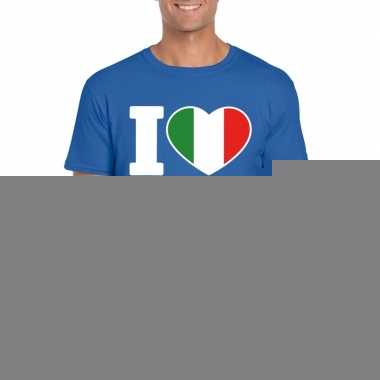 Blauw i love italie fan shirt heren