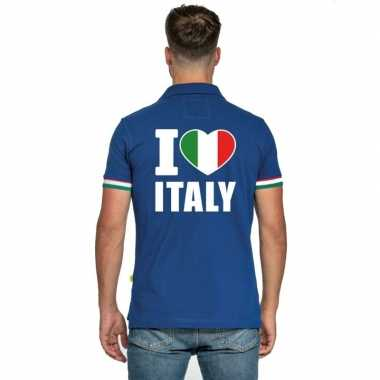 Blauw i love italie polo heren