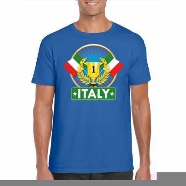Blauw italie supporter kampioen shirt heren