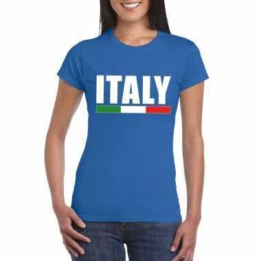 Blauw italie supporter shirt dames