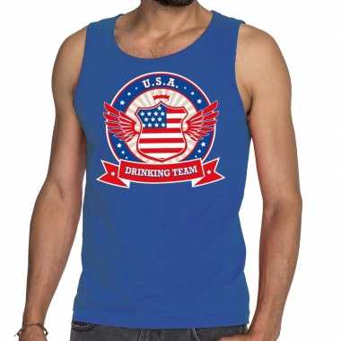 Blauw usa drinking team tanktop / mouwloos shirt heren
