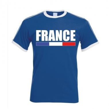 Blauw/ wit frankrijk supporter ringer t-shirt voor heren
