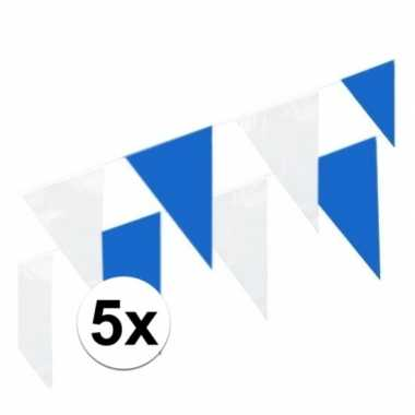 Blauw witte puntvlaggetjes 10 meter