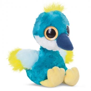 Blauwe kraanvogel knuffel 20 cm met grote ogen trend