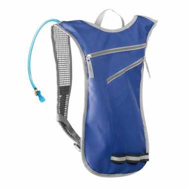 Blauwe sport rugtas/rugzak met waterzak 2 liter 32 x 50 cm