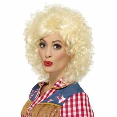 Blonde dolly korte pruik met krullen voor dames