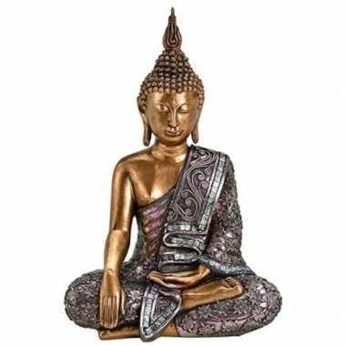 Boeddha beeldje goud/zilver 34 cm woondecoratie