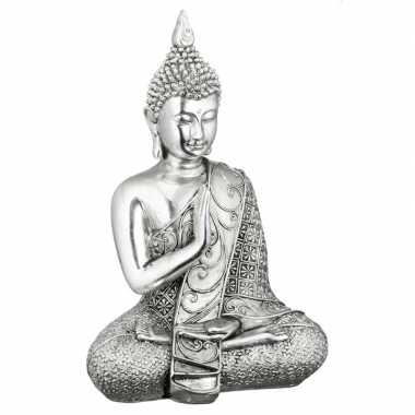 Boeddha beeldje zilver 17,5 cm