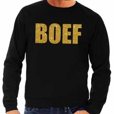 Boef gouden glitter tekst sweater zwart voor heren