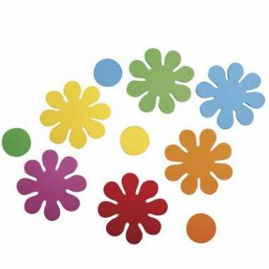 Bontgekleurde crepla bloemen zelfklevend 80 st
