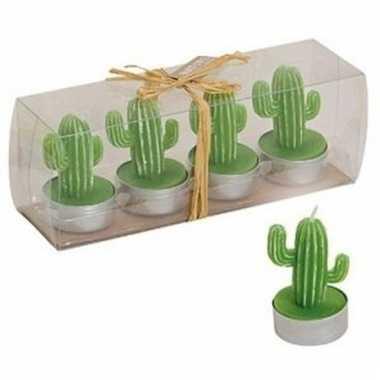 Cactus theelichtjes donker groen 4 stuks