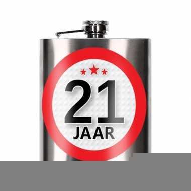 Cadeau 21 jaar drankflesje 200 ml