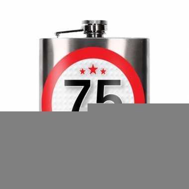 Cadeau 75 jaar drankflesje 200 ml