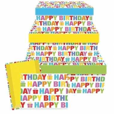 Cadeaudoosje happy birthday 17,5 cm