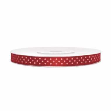 Cadeaulint rood met witte stippen 6 mm breed