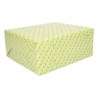 Cadeaupapier driehoekjes groen en geel