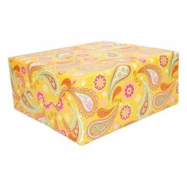 Cadeaupapier geel met paisley print