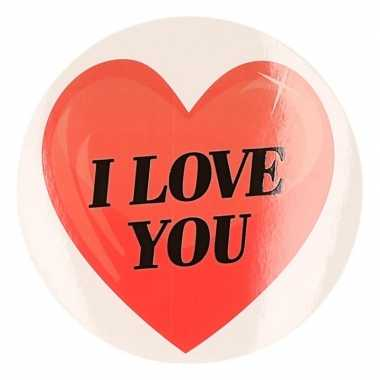 Cadeausticker i love you hart 9 cm
