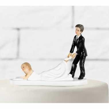 Caketopper bruidspaar slepende bruid