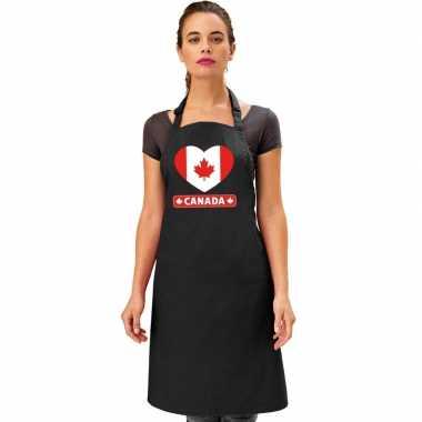 Canada hart vlag barbecueschort/ keukenschort zwart