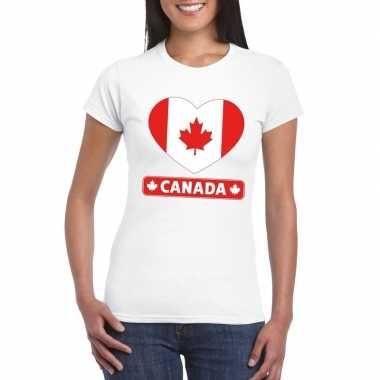 Canada hart vlag t-shirt wit dames