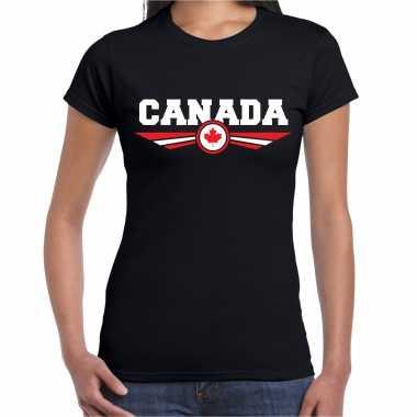 Canada landen t-shirt zwart dames
