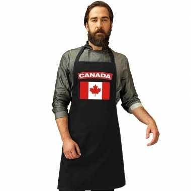 Canada vlag barbecueschort/ keukenschort zwart volwassenen