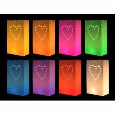 Candle bags set hart gekleurd 10 stuks