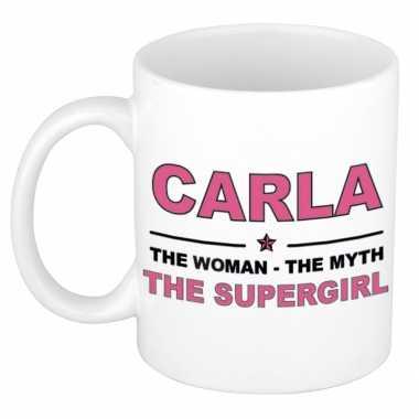 Carla the woman the myth the supergirl collega kado mokken bekers 300 ml trend