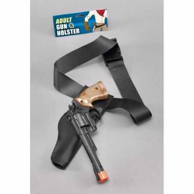 Carnaval accessoires zwarte pistool in holster 22 cm